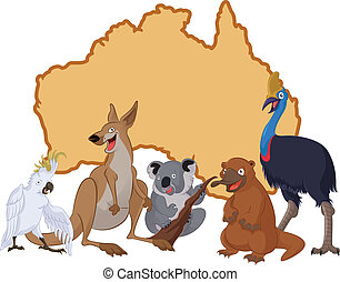 Australia with cartoon animals - Vector image of Australia...