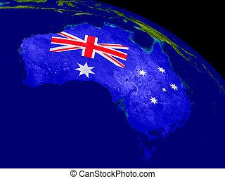 Australia with flag on Earth