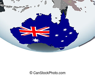 Australia with flag on globe