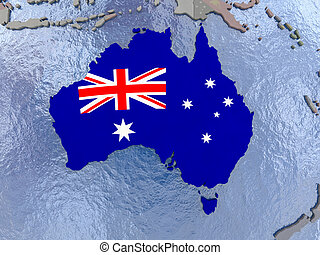Australia with flag on globe