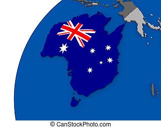 Australia with flag on political globe