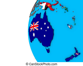 Australia with flags on 3D globe