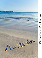 Australia written on remote beach