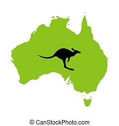australia, y, canguro, against., un, vector, ilustración