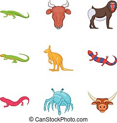 Australian animal icons set, cartoon style