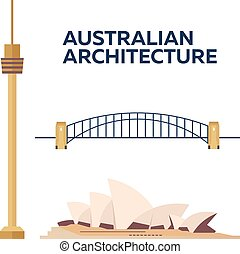 Australian Architecture. Modern flat design. Vector illustration.