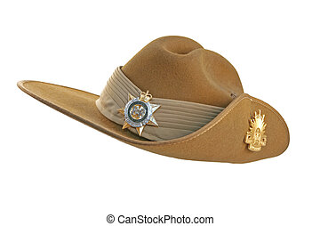 Australian army slouch hat, isolated on white. (This is a parade hat.)