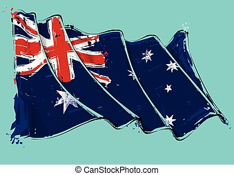 Vector grange Illustration of an Australian waving Flag. All elements neatly on well defined layers