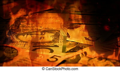 Australian Banknotes Rotating In Fire - Pile of mixed...