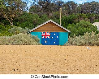 Australian Beach Bathing boxes - Australian Flag on Beach...