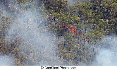 Australian bushfire - A birds eye view shot of mountains and...