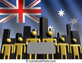 Australian business team with skyline