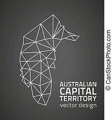 Australian Capital Territory black contour design vector perspective map