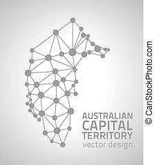 Australian Capital Territory grey dot vector outline map