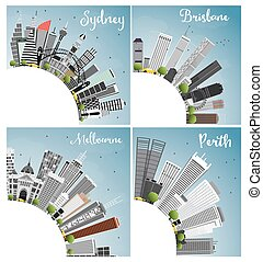 Australian Cities. Sydney Brisbane Perth and Melbourne City Skyline with Gray Buildings, Blue Sky and Copy Space.