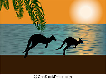 Against the backdrop of the ocean and setting sun on the bank of two galloping kangaroos