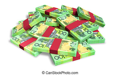 A pile of randomly scattered wads of australian dollar banknotes on an isolated background