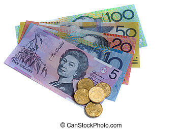 australian dollars - all five different denominations of...