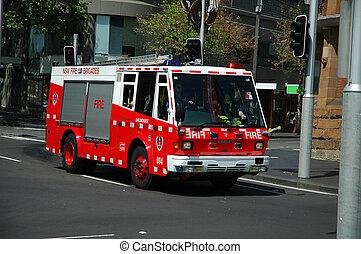australian fire truck in sydney, no motion blur