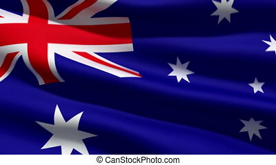 Australian flag, 3d animation. perfect seamless loop