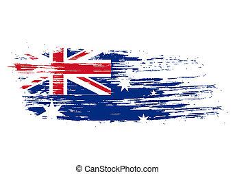 australian flag - grunge Australian flag in the shape of...