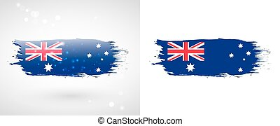 Australian flag. Independence Day. Flag painted with a brush...