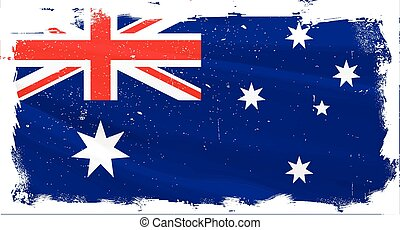 Australian Flag Griunge - The flag of Australia with heavy...