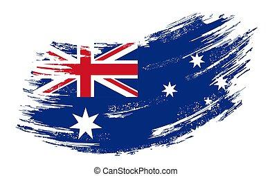 Australian flag grunge brush background. Vector illustration.