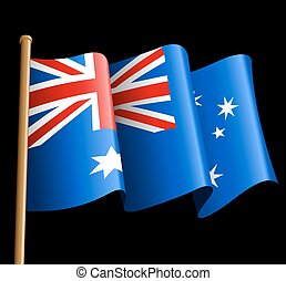 Australian flag illustration on a black background