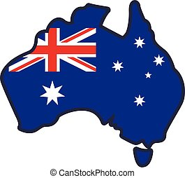 Australian Flag in simplified Map of Australia vector element vector