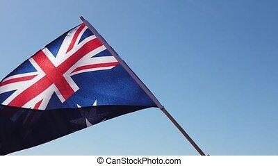 Australian flag in the sky SLOW MOTION