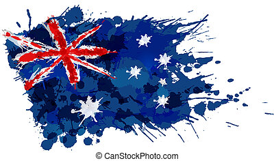 Australian flag made of colorful splashes