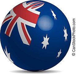 Australian flag on a 3d ball