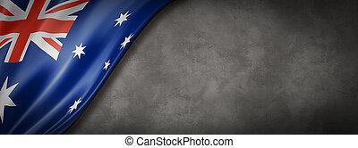 Australian flag on concrete wall banner