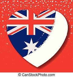 australian flag on heart in red background with confetti