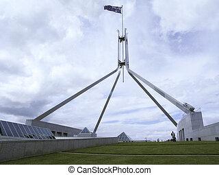 australian flag on parliament