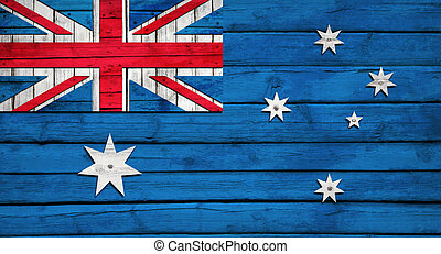 Australian flag painted on wooden boards. Grunge style