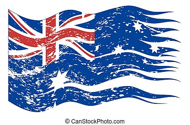 Australian Flag Ripped And Grunged
