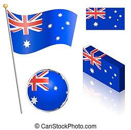 Australian Flag Set - Australian flag on a pole, badge and...