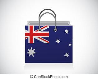 Australian flag shopping bag illustration design over a ...