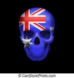 Australian flag skull - Human skull with flag of Australia. ...