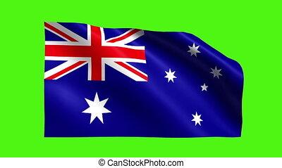 AUSTRALIAN FLAG - flag waving with green screen background.