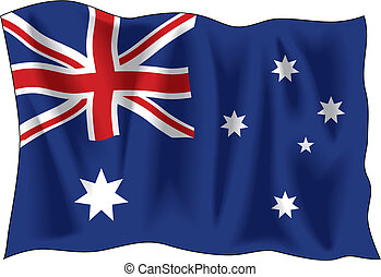 Australian flag - Waving flag of Australia isolated on white