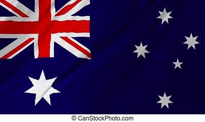 Australian flag waving in the wind 2 in 1