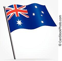 Australian flag of Australia silk waving on flagpole vector