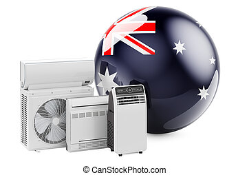 Australian flag with cooling and climate electric devices. Manufacturing, trading and service of air conditioners in Australia, 3D rendering
