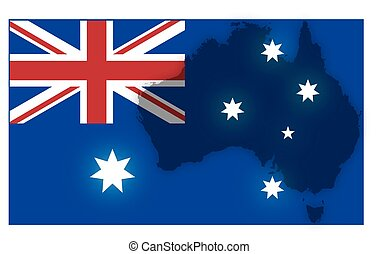 Australian Flag With Map