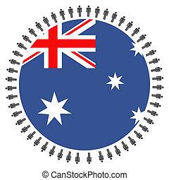 Australian flag with people