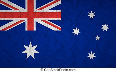 Australian flag with the effect of crumpled paper and grunge