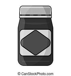 Australian food spread icon in monochrome style isolated on white background. Australia symbol stock bitmap,raster illustration.